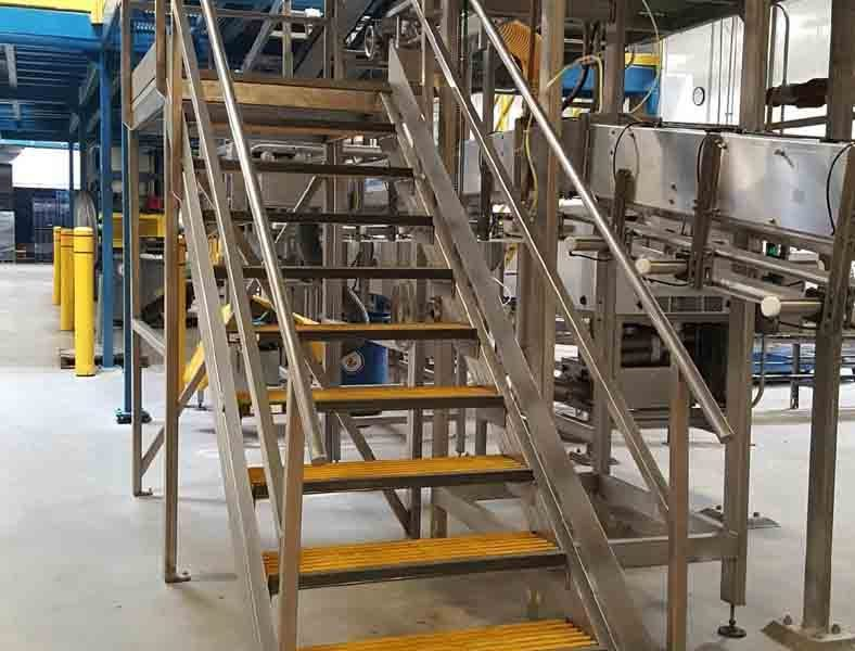 Stainless steel stairs with platform