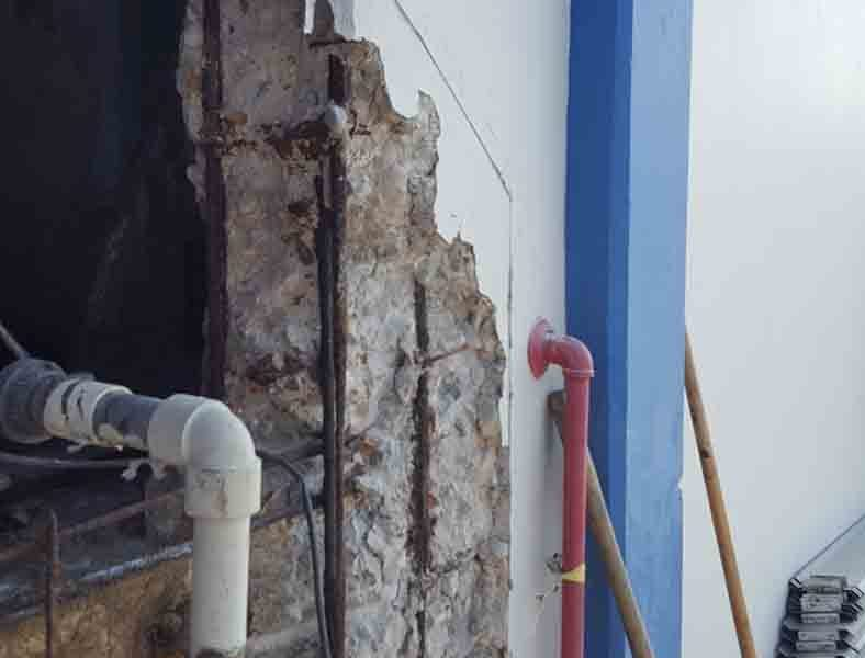 Repairing the concrete wall